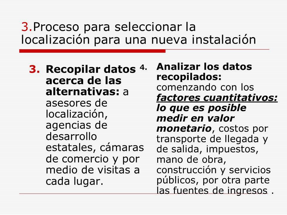 3.Proceso para seleccionar la localización para una nueva instalación 3.Recopilar datos acerca de las alternativas: a asesores de localización, agenci