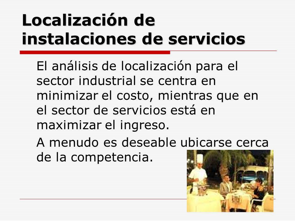 Localización de instalaciones de servicios El análisis de localización para el sector industrial se centra en minimizar el costo, mientras que en el s