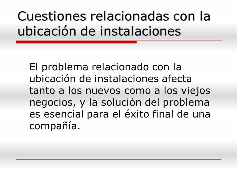 Cuestiones relacionadas con la ubicación de instalaciones El problema relacionado con la ubicación de instalaciones afecta tanto a los nuevos como a l
