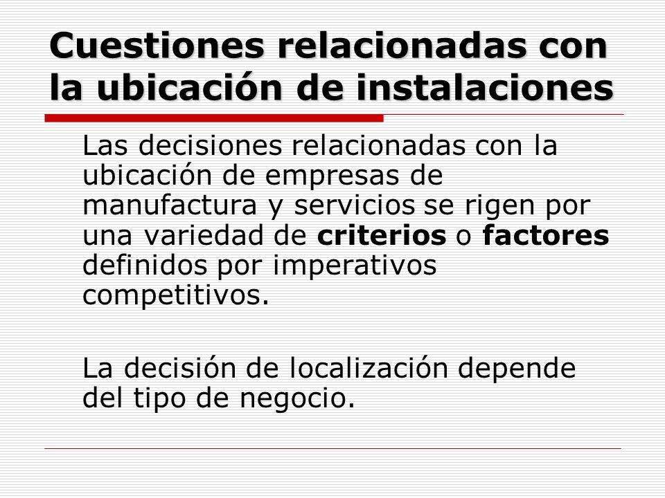 Cuestiones relacionadas con la ubicación de instalaciones Las decisiones relacionadas con la ubicación de empresas de manufactura y servicios se rigen