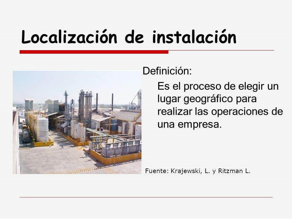 Localización de instalación Definición: Es el proceso de elegir un lugar geográfico para realizar las operaciones de una empresa. Fuente: Krajewski, L