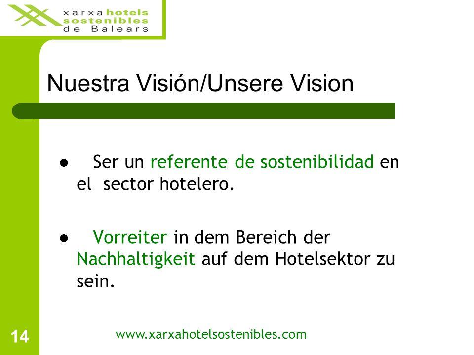 14 Nuestra Visión/Unsere Vision Ser un referente de sostenibilidad en el sector hotelero.
