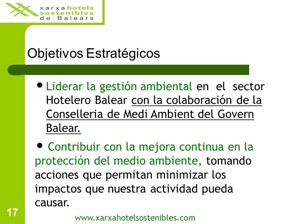 17 Objetivos Estratégicos www.xarxahotelsostenibles.com Liderar la gestión ambiental en el sector Hotelero Balear con la colaboración de la Conselleria de Medi Ambient del Govern Balear.