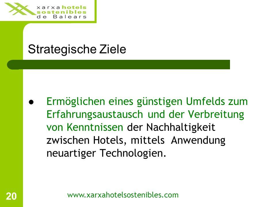 20 Strategische Ziele Ermöglichen eines günstigen Umfelds zum Erfahrungsaustausch und der Verbreitung von Kenntnissen der Nachhaltigkeit zwischen Hotels, mittels Anwendung neuartiger Technologien.