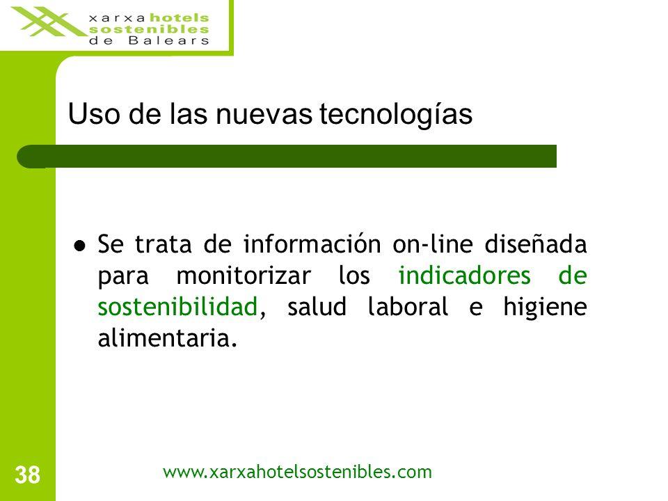 38 www.xarxahotelsostenibles.com Se trata de información on-line diseñada para monitorizar los indicadores de sostenibilidad, salud laboral e higiene alimentaria.