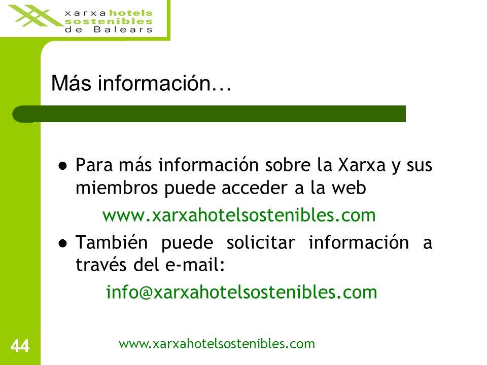 44 Más información… www.xarxahotelsostenibles.com Para más información sobre la Xarxa y sus miembros puede acceder a la web www.xarxahotelsostenibles.com También puede solicitar información a través del e-mail: info@xarxahotelsostenibles.com
