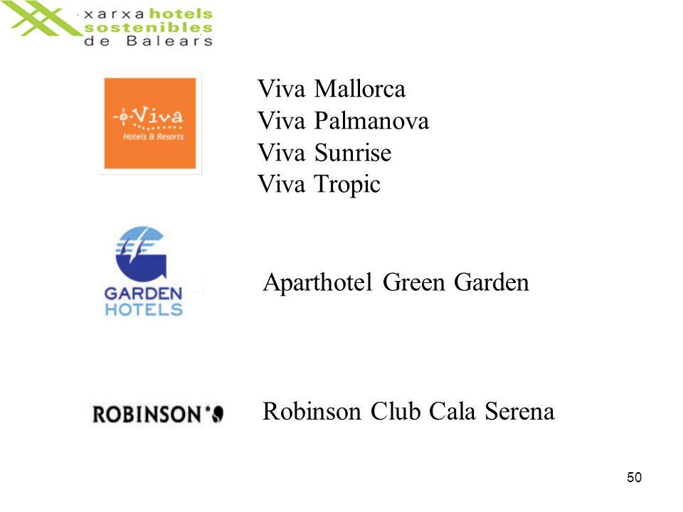 50 Viva Mallorca Viva Palmanova Viva Sunrise Viva Tropic Aparthotel Green Garden Robinson Club Cala Serena