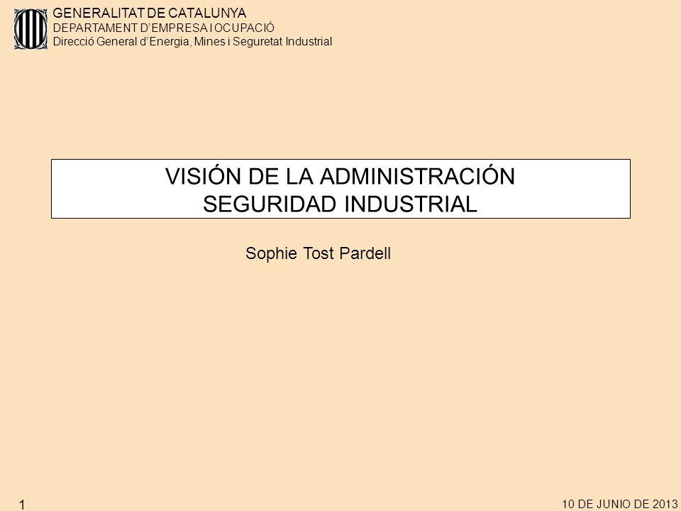 GENERALITAT DE CATALUNYA DEPARTAMENT DEMPRESA I OCUPACIÓ Direcció General dEnergia, Mines i Seguretat Industrial 10 DE JUNIO DE 2013 2 ÍNDICE 1.