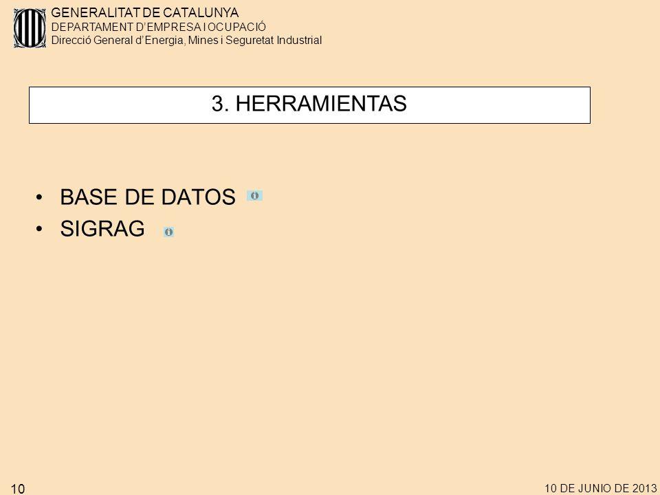 GENERALITAT DE CATALUNYA DEPARTAMENT DEMPRESA I OCUPACIÓ Direcció General dEnergia, Mines i Seguretat Industrial 10 DE JUNIO DE 2013 10 BASE DE DATOS SIGRAG 3.