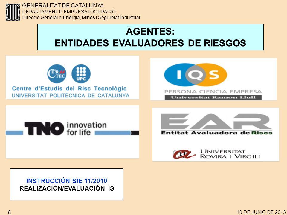 GENERALITAT DE CATALUNYA DEPARTAMENT DEMPRESA I OCUPACIÓ Direcció General dEnergia, Mines i Seguretat Industrial 10 DE JUNIO DE 2013 17