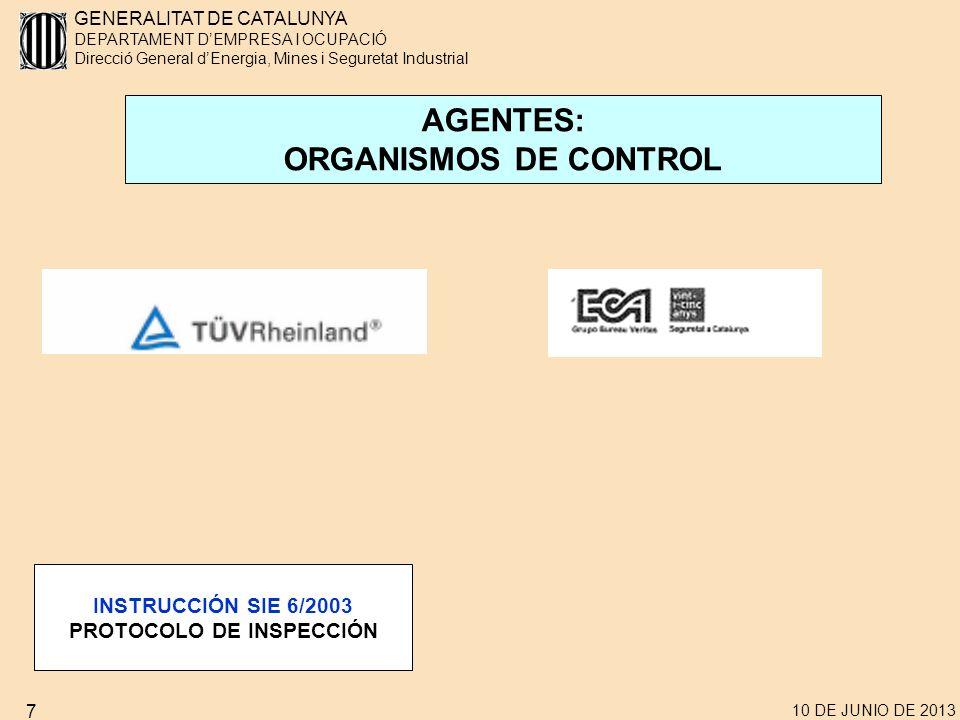 GENERALITAT DE CATALUNYA DEPARTAMENT DEMPRESA I OCUPACIÓ Direcció General dEnergia, Mines i Seguretat Industrial 10 DE JUNIO DE 2013 7 AGENTES: ORGANISMOS DE CONTROL INSTRUCCIÓN SIE 6/2003 PROTOCOLO DE INSPECCIÓN
