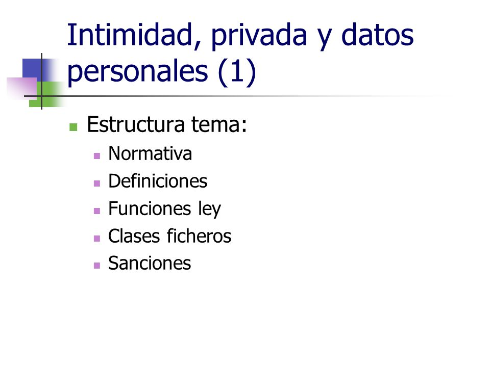 Intimidad, privada y datos personales (1) Estructura tema: Normativa Definiciones Funciones ley Clases ficheros Sanciones
