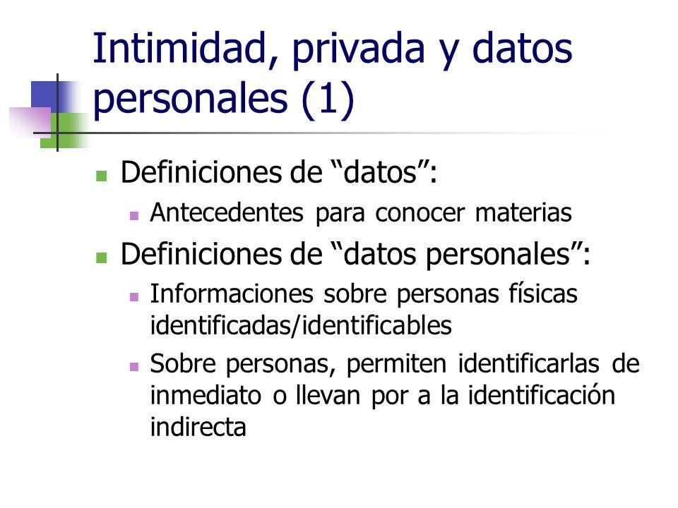 Intimidad, privada y datos personales (1) Definiciones de datos: Antecedentes para conocer materias Definiciones de datos personales: Informaciones sobre personas físicas identificadas/identificables Sobre personas, permiten identificarlas de inmediato o llevan por a la identificación indirecta