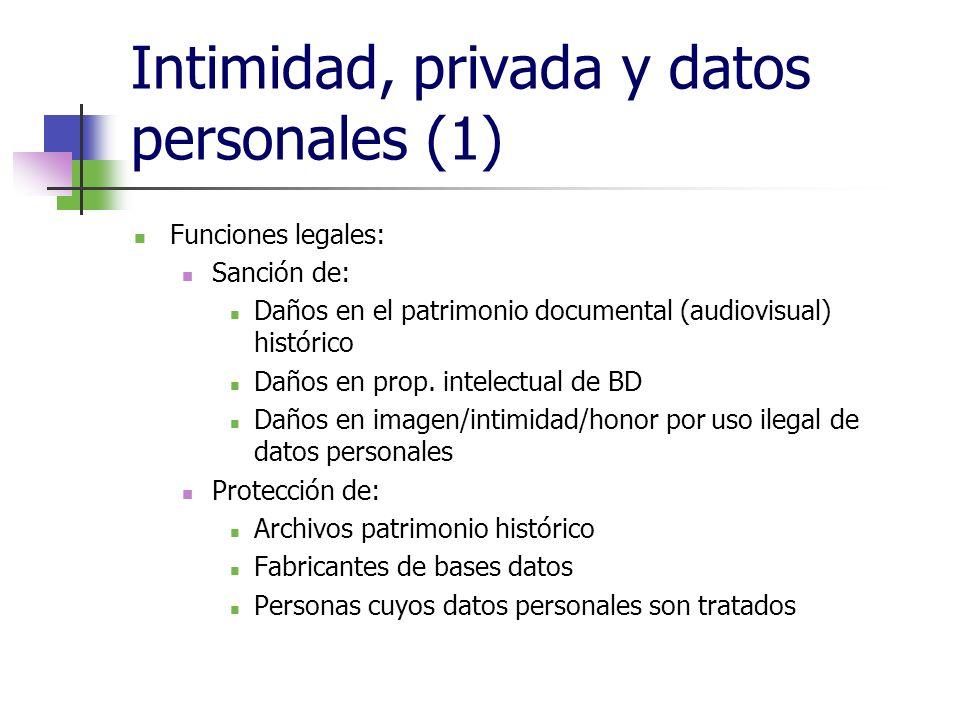 Intimidad, privada y datos personales (1) Funciones legales: Sanción de: Daños en el patrimonio documental (audiovisual) histórico Daños en prop. inte