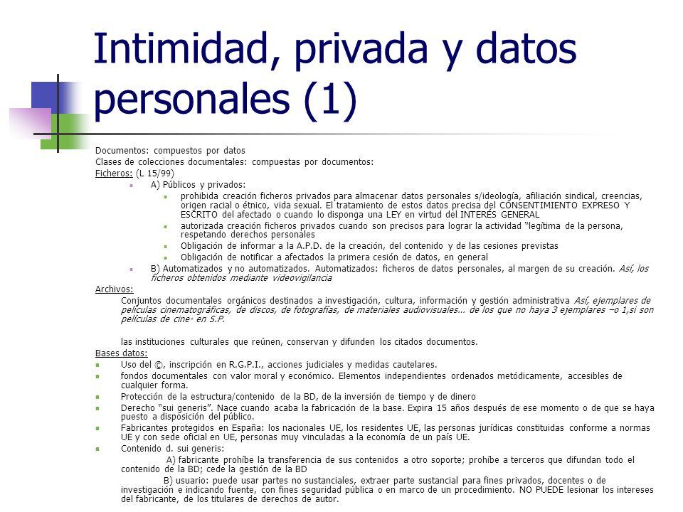 Intimidad, privada y datos personales (1) Documentos: compuestos por datos Clases de colecciones documentales: compuestas por documentos: Ficheros: (L