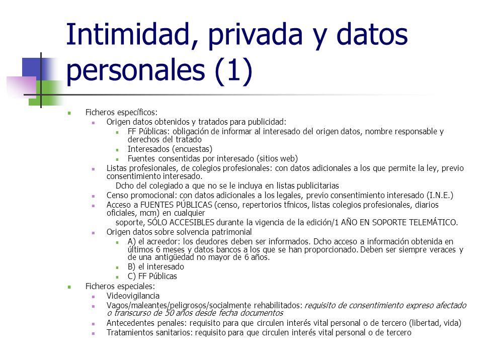 Intimidad, privada y datos personales (1) Ficheros específicos: Origen datos obtenidos y tratados para publicidad: FF Públicas: obligación de informar