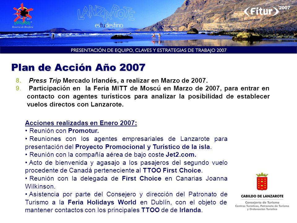 8. Press Trip Mercado Irlandés, a realizar en Marzo de 2007. 9. Participación en la Feria MITT de Moscú en Marzo de 2007, para entrar en contacto con