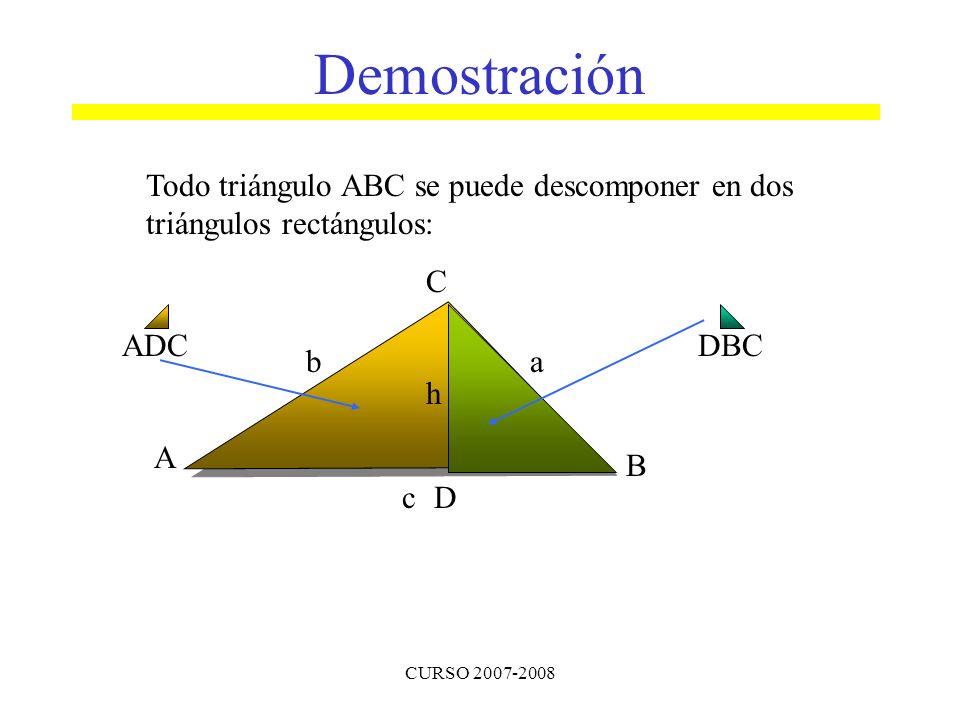 CURSO 2007-2008 Todo triángulo ABC se puede descomponer en dos triángulos rectángulos: A B C ba cD h DBCADC Demostración