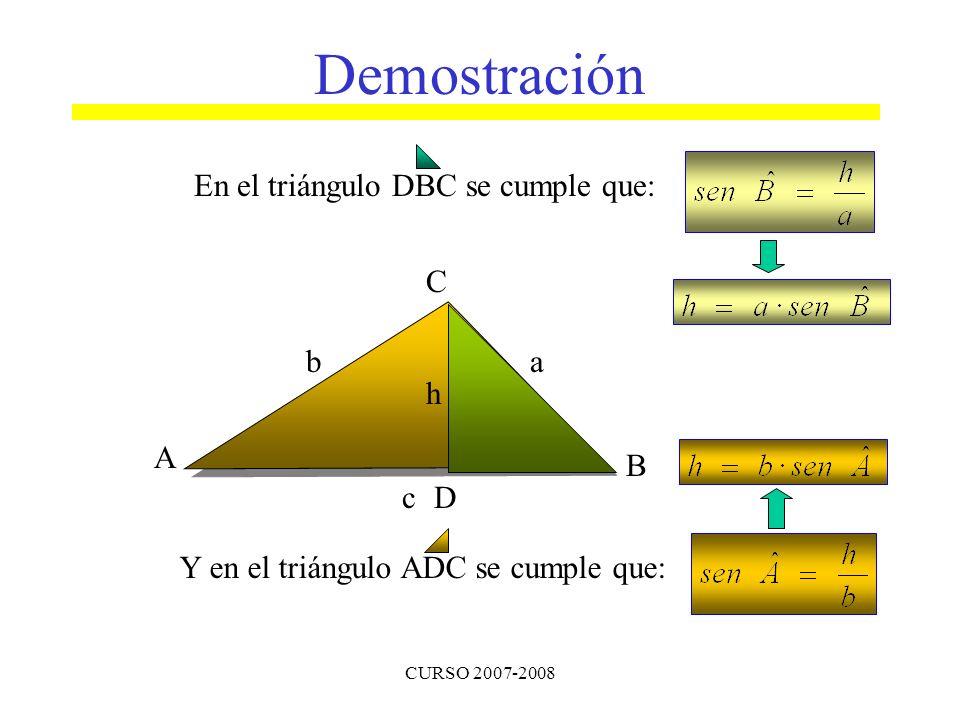 CURSO 2007-2008 En el triángulo DBC se cumple que: A B C ba cD h Y en el triángulo ADC se cumple que: Demostración