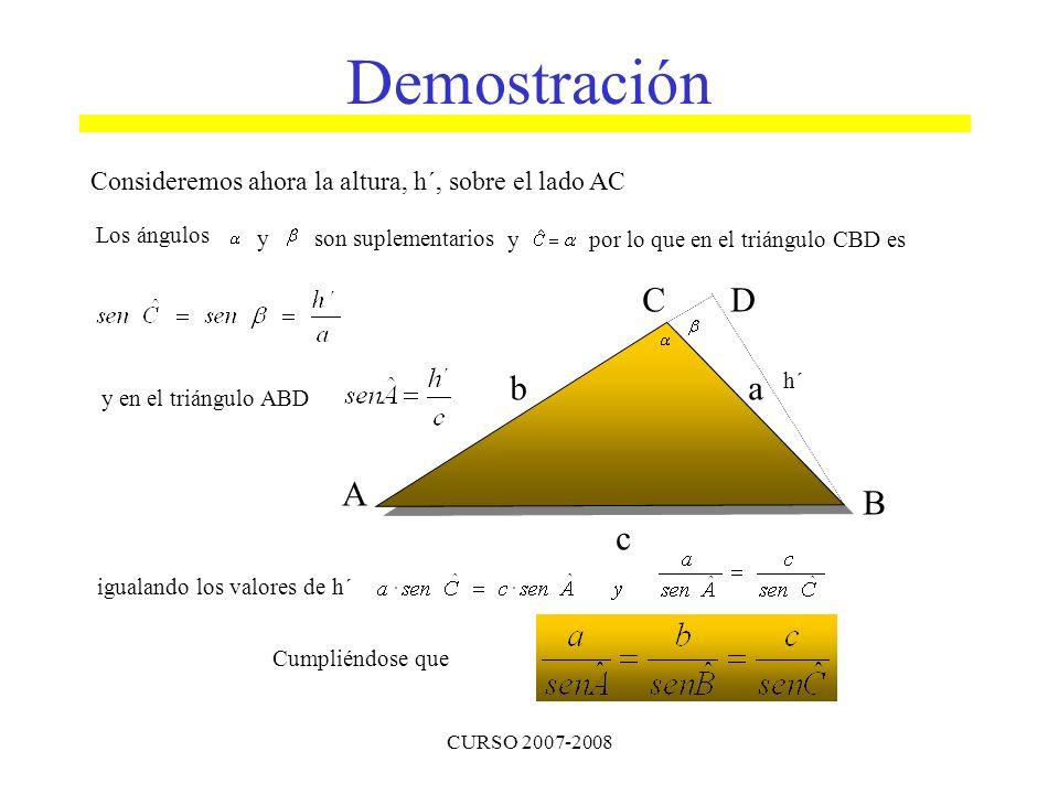 CURSO 2007-2008 A B C ba c D h´ Demostración Consideremos ahora la altura, h´, sobre el lado AC Los ángulos y son suplementarios y por lo que en el tr