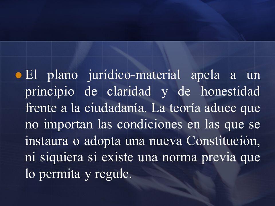 El plano jurídico-material apela a un principio de claridad y de honestidad frente a la ciudadanía. La teoría aduce que no importan las condiciones en
