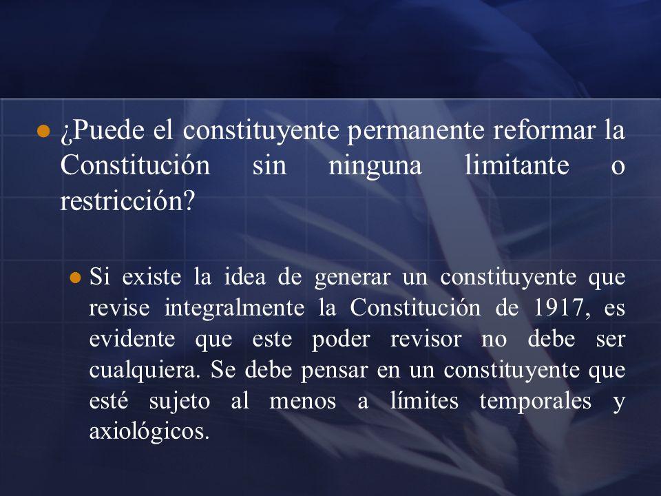 La actuación del poder constituyente debe estar legitimada por el pueblo a través de un referéndum, para establecer las figuras de democracia semi-directa para preguntarle al pueblo si quiere una nueva Constitución, y un referéndum posterior a la elaboración de la nueva Constitución.