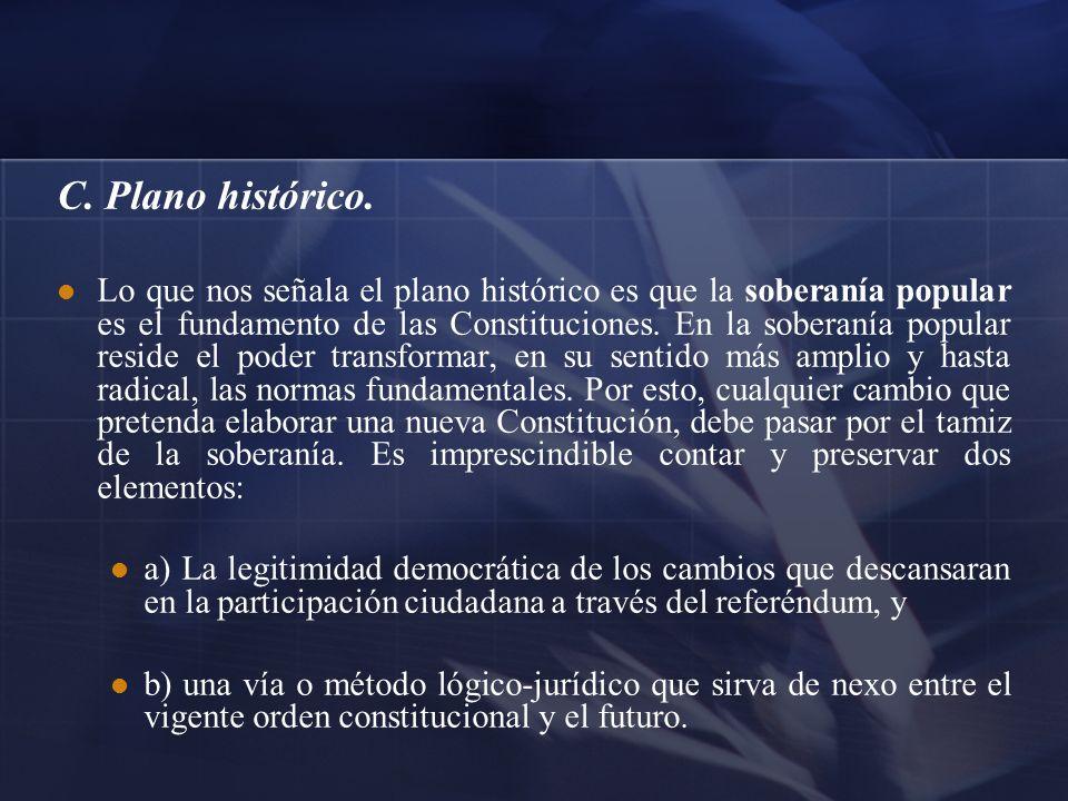 C. Plano histórico. Lo que nos señala el plano histórico es que la soberanía popular es el fundamento de las Constituciones. En la soberanía popular r