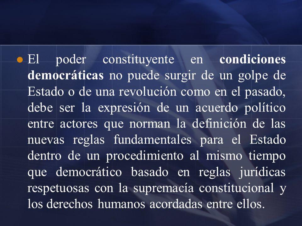 El poder constituyente en condiciones democráticas no puede surgir de un golpe de Estado o de una revolución como en el pasado, debe ser la expresión