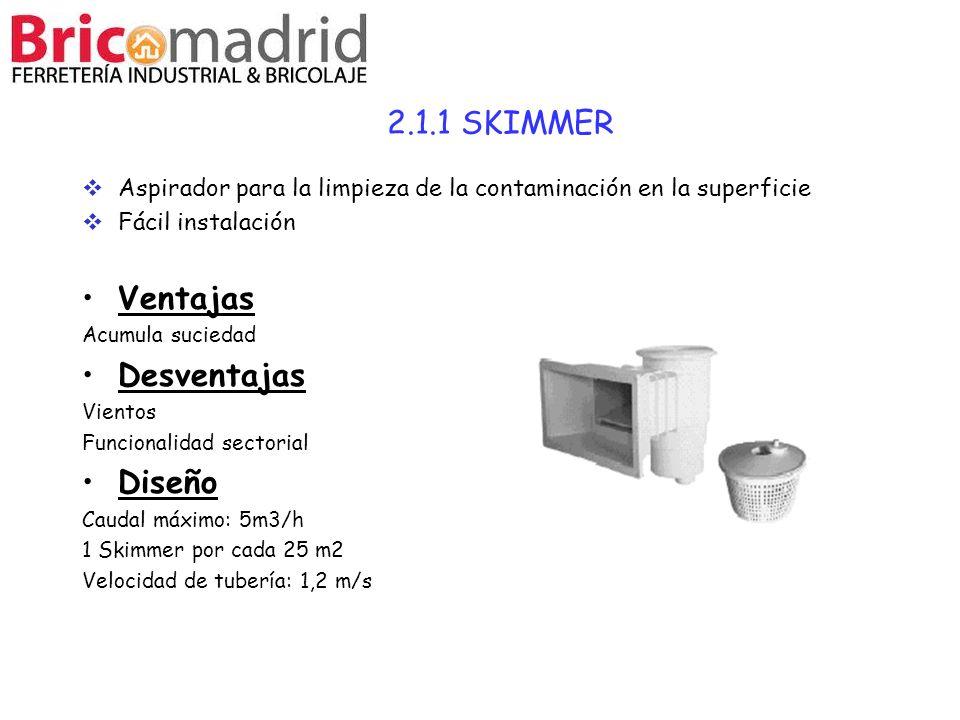 2.1.1 SKIMMER Aspirador para la limpieza de la contaminación en la superficie Fácil instalación Ventajas Acumula suciedad Desventajas Vientos Funciona