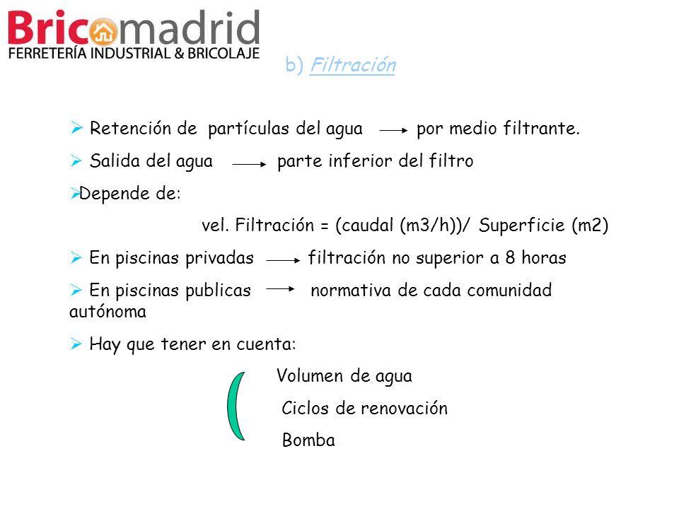 b) Filtración Retención de partículas del agua por medio filtrante. Salida del agua parte inferior del filtro Depende de: vel. Filtración = (caudal (m