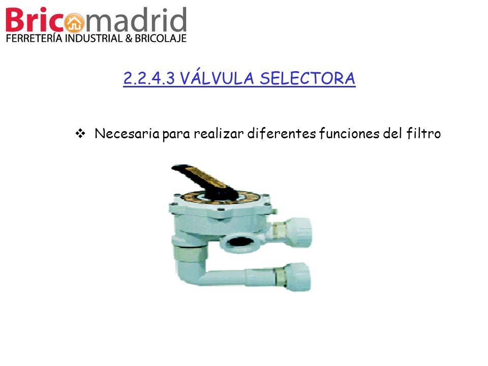 2.2.4.3 VÁLVULA SELECTORA Necesaria para realizar diferentes funciones del filtro