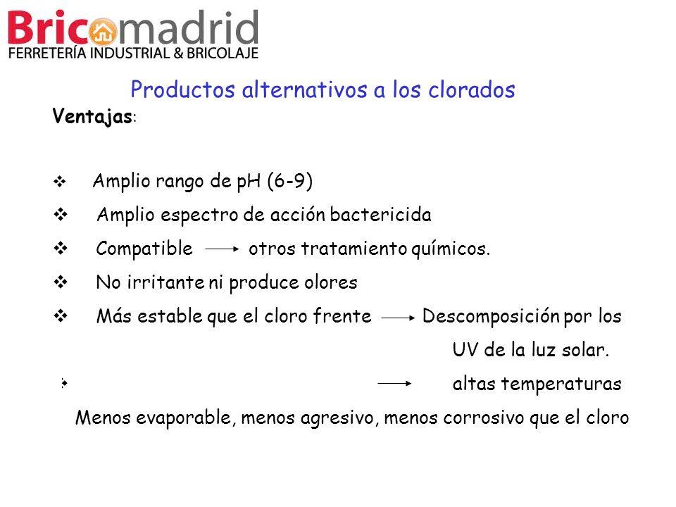 Ventajas : Amplio rango de pH (6-9) Amplio espectro de acción bactericida Compatible otros tratamiento químicos. No irritante ni produce olores Más es