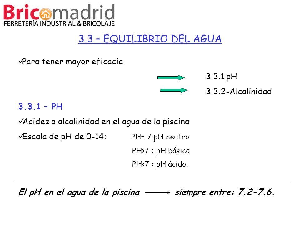 3.3 – EQUILIBRIO DEL AGUA Para tener mayor eficacia 3.3.1 pH 3.3.2-Alcalinidad 3.3.1 – PH Acidez o alcalinidad en el agua de la piscina Escala de pH d