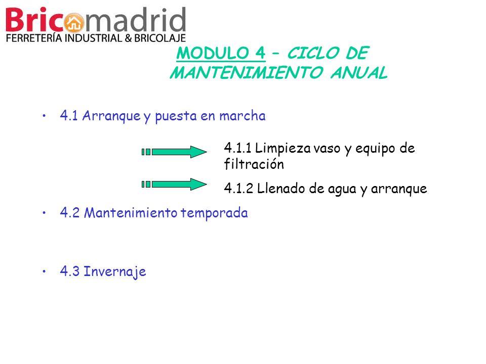 MODULO 4 – CICLO DE MANTENIMIENTO ANUAL 4.1 Arranque y puesta en marcha 4.2 Mantenimiento temporada 4.3 Invernaje 4.1.1 Limpieza vaso y equipo de filt