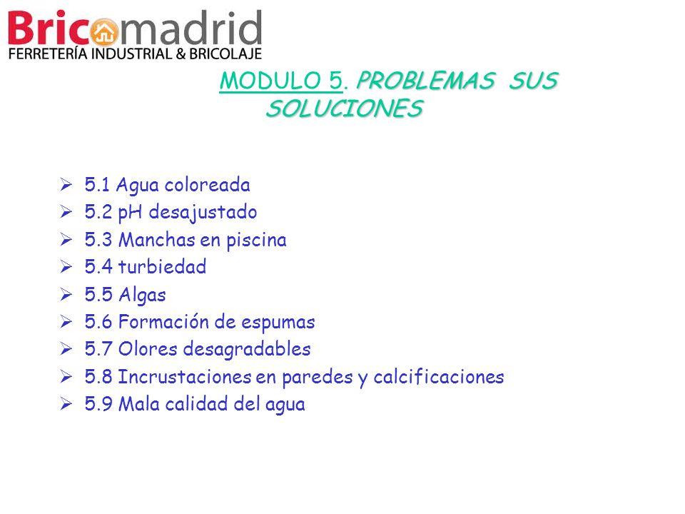 PROBLEMAS SUS SOLUCIONES MODULO 5. PROBLEMAS SUS SOLUCIONES 5.1 Agua coloreada 5.2 pH desajustado 5.3 Manchas en piscina 5.4 turbiedad 5.5 Algas 5.6 F