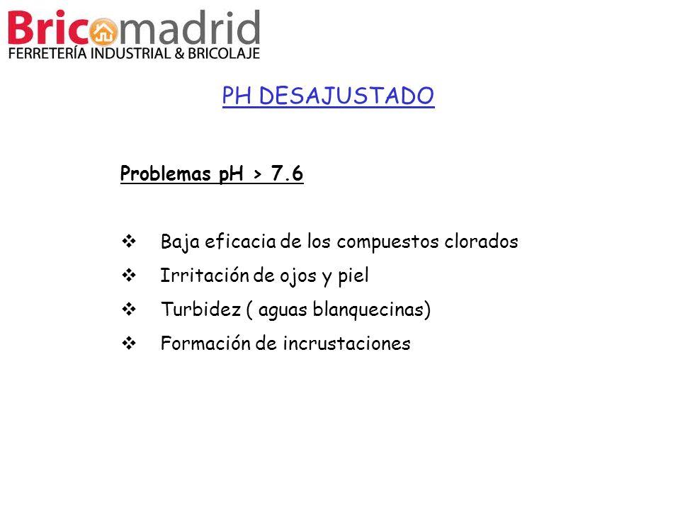 PH DESAJUSTADO Problemas pH > 7.6 Baja eficacia de los compuestos clorados Irritación de ojos y piel Turbidez ( aguas blanquecinas) Formación de incru