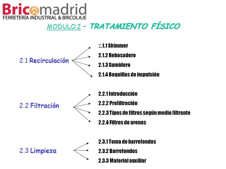 TRATAMIENTO FÍSICO MODULO 2 – TRATAMIENTO FÍSICO 2.1 Recirculación 2.2 Filtración 2.3 Limpieza 2.1.1 Skimmer 2.1.2 Rebosadero 2.1.3 Sumidero 2.1.4 Boq