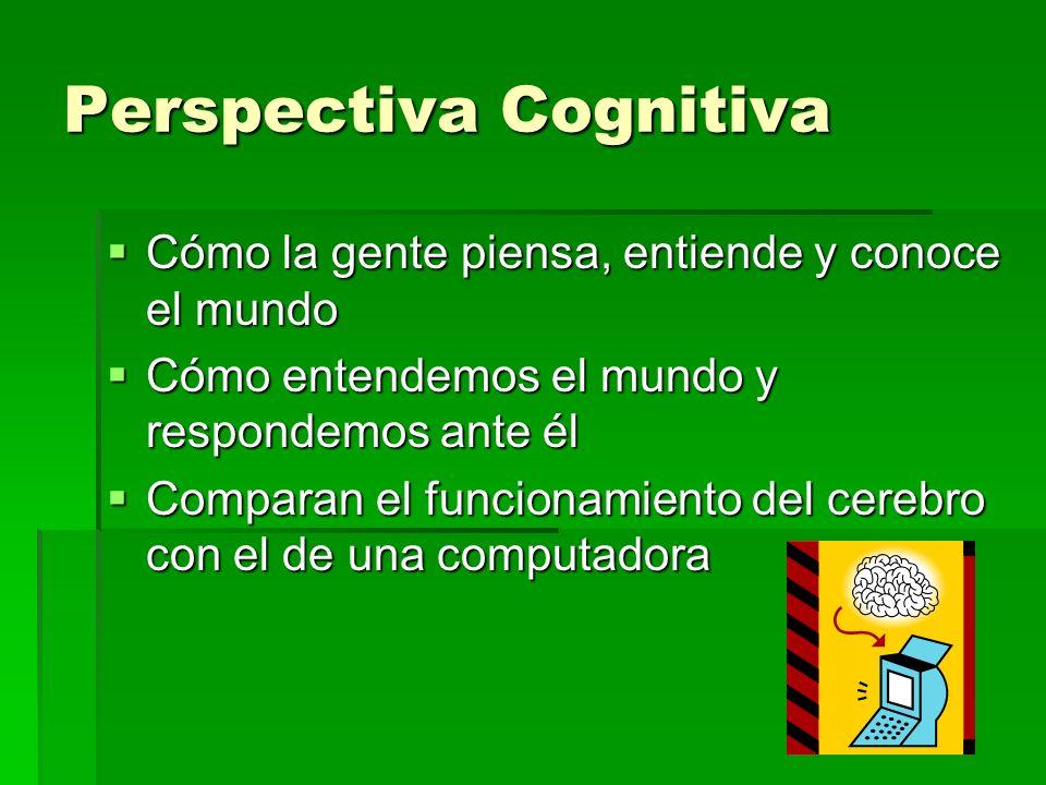 Perspectiva Cognitiva Cómo la gente piensa, entiende y conoce el mundo Cómo la gente piensa, entiende y conoce el mundo Cómo entendemos el mundo y res
