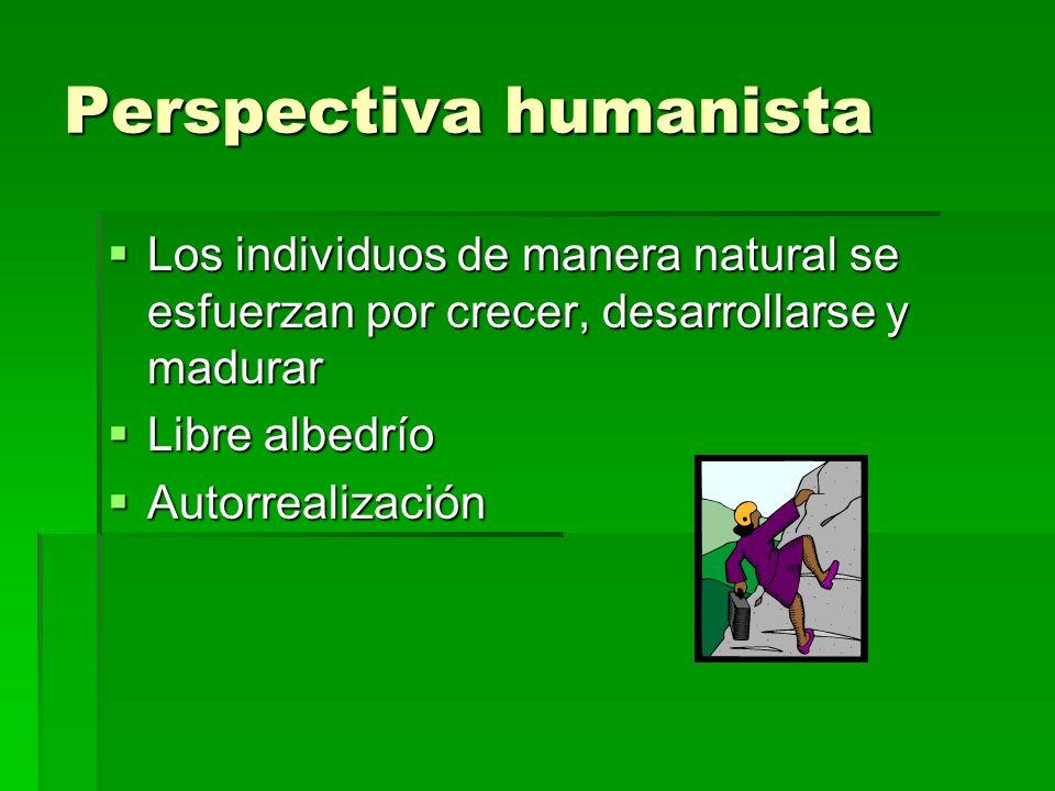 Perspectiva humanista Los individuos de manera natural se esfuerzan por crecer, desarrollarse y madurar Los individuos de manera natural se esfuerzan