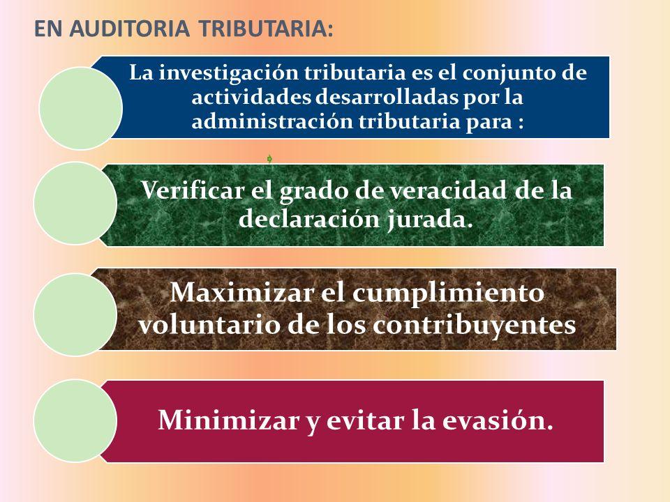 EN AUDITORIA TRIBUTARIA: La investigación tributaria es el conjunto de actividades desarrolladas por la administración tributaria para : Verificar el