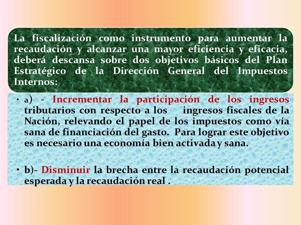 La fiscalización como instrumento para aumentar la recaudación y alcanzar una mayor eficiencia y eficacia, deberá descansa sobre dos objetivos básicos