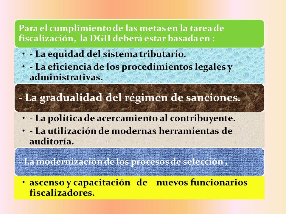 Para el cumplimiento de las metas en la tarea de fiscalización, la DGII deberá estar basada en : - La equidad del sistema tributario. - La eficiencia