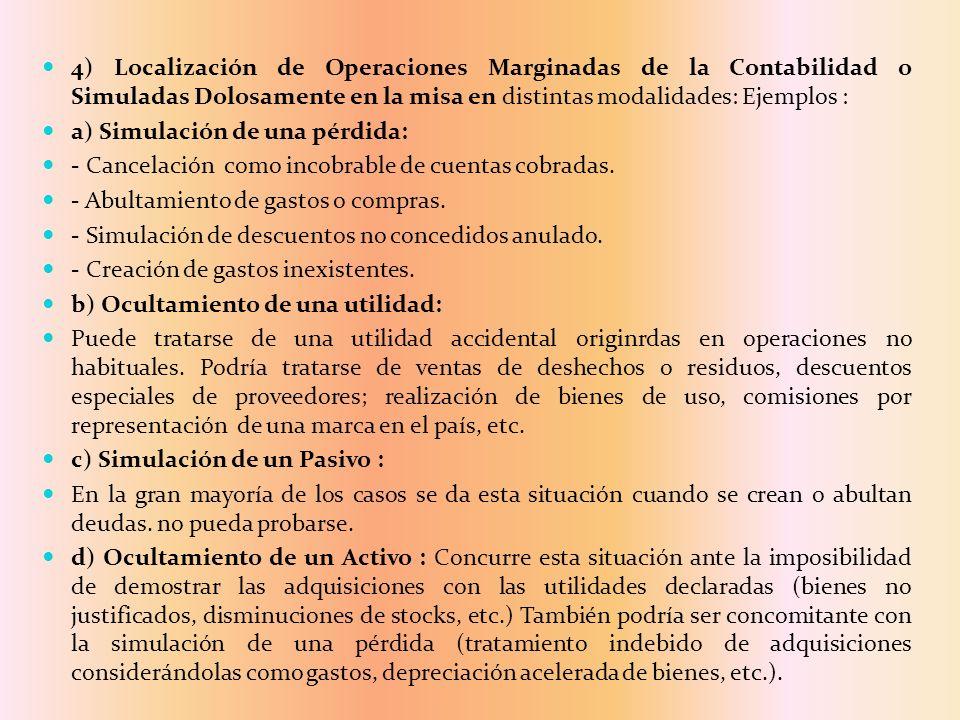 4) Localización de Operaciones Marginadas de la Contabilidad o Simuladas Dolosamente en la misa en distintas modalidades: Ejemplos : a) Simulación de