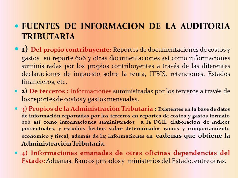 FUENTES DE INFORMACION DE LA AUDITORIA TRIBUTARIA 1) Del propio contribuyente: Reportes de documentaciones de costos y gastos en reporte 606 y otras d