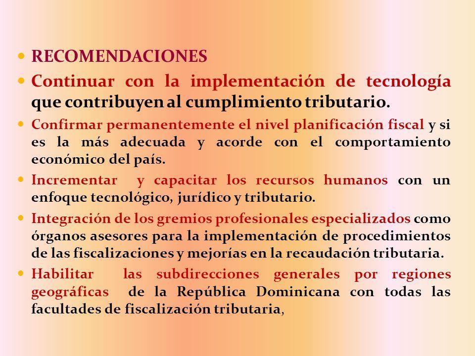 RECOMENDACIONES Continuar con la implementación de tecnología que contribuyen al cumplimiento tributario. Confirmar permanentemente el nivel planifica