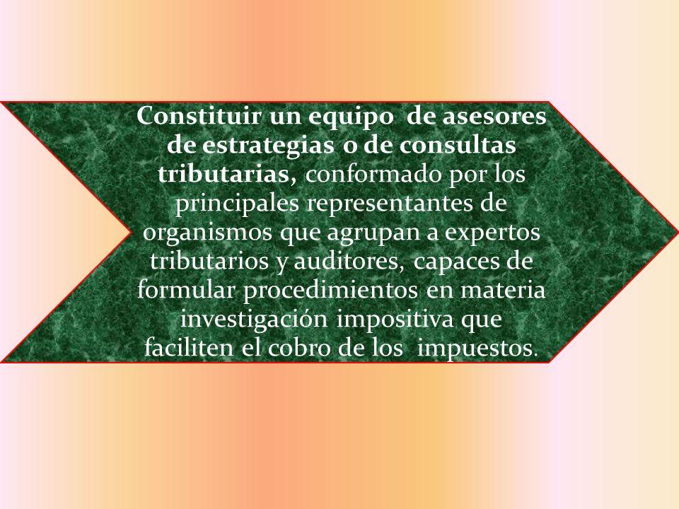 Constituir un equipo de asesores de estrategias o de consultas tributarias, conformado por los principales representantes de organismos que agrupan a