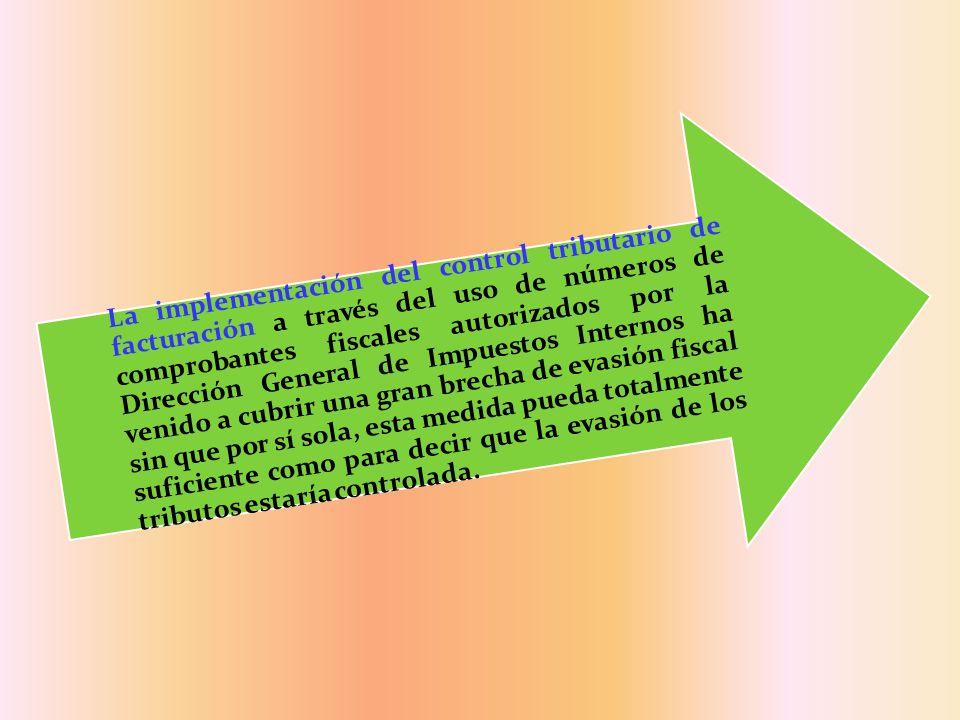 La implementación del control tributario de facturación a través del uso de números de comprobantes fiscales autorizados por la Dirección General de I