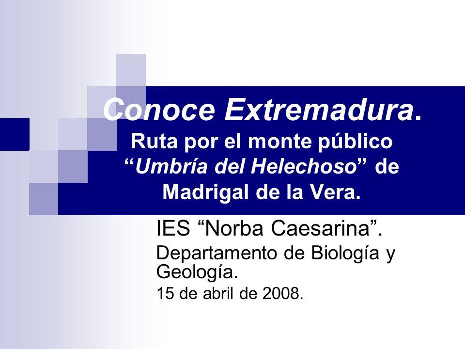Conoce Extremadura. Ruta por el monte públicoUmbría del Helechoso de Madrigal de la Vera. IES Norba Caesarina. Departamento de Biología y Geología. 15