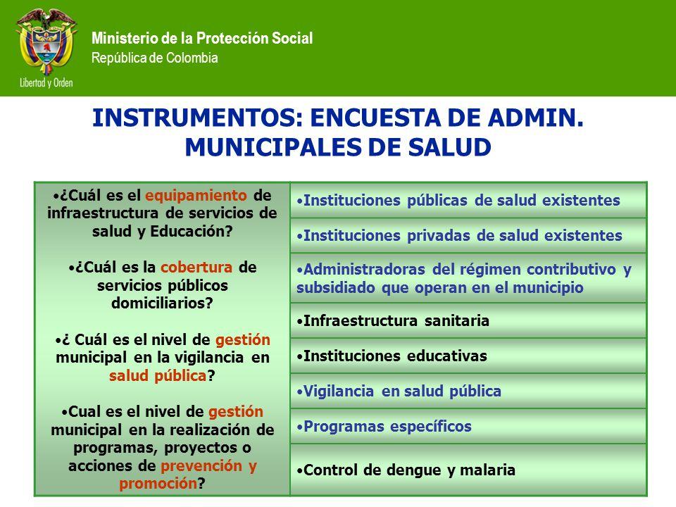 Ministerio de la Protección Social República de Colombia INSTRUMENTOS: ENCUESTA DE ADMIN. MUNICIPALES DE SALUD ¿Cuál es el equipamiento de infraestruc