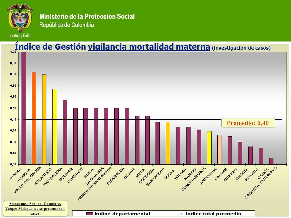 Ministerio de la Protección Social República de Colombia Promedio: 0,40 Amazonas, Arauca, Casanare, Vaupés,Vichada no se presentaron casos Índice de G
